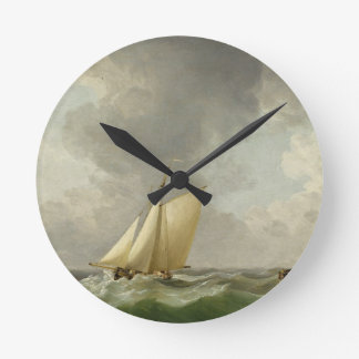A Cutter in a Strong Breeze (oil on copper) Clock