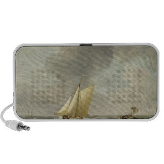 A Cutter in a Strong Breeze (oil on copper) Portable Speakers