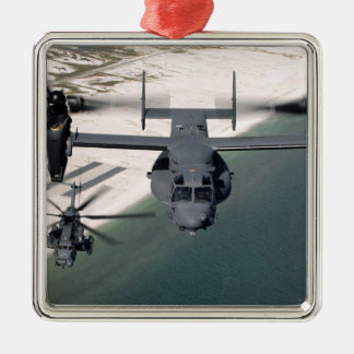 A CV-22 Osprey and an MH-53 Pave Low Christmas Ornament