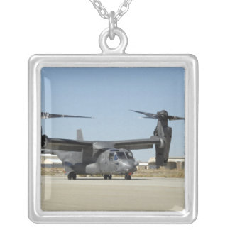 A CV-22 Osprey prepares for take-off Silver Plated Necklace