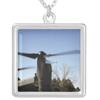 A CV-22 Osprey prepares to take off Silver Plated Necklace
