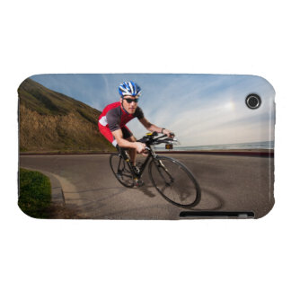 A cyclist leaning into a corner iPhone 3 covers
