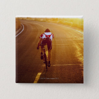 A cyclist on road bike near Great Salt Lake 15 Cm Square Badge