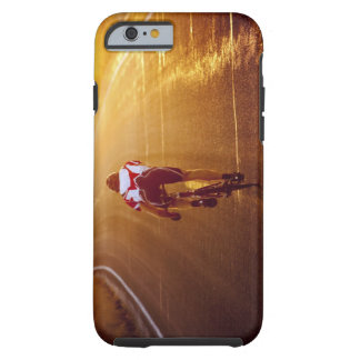 A cyclist on road bike near Great Salt Lake Tough iPhone 6 Case