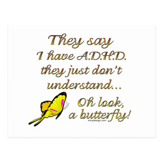 A D H D Butterfly Humor Postcards