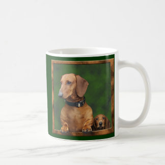 A dachshund daddy and his boy basic white mug