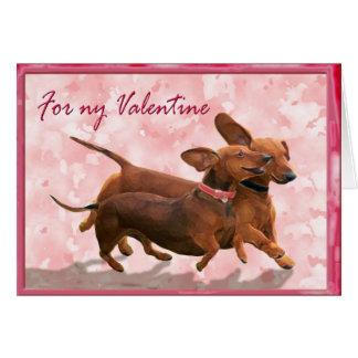 A dachshund Valentine - Lets go play! Greeting Card