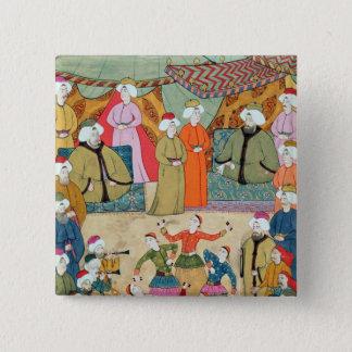 A Dance for the Pleasure of Sultan Ahmet III 15 Cm Square Badge