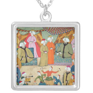 A Dance for the Pleasure of Sultan Ahmet III Square Pendant Necklace