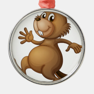 A dancing beaver Silver-Colored round decoration