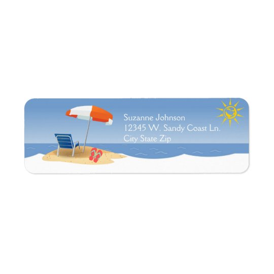 A Day At the Beach Ocean Waves Flip Flops Custom Return Address Label