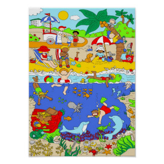 A day at the beach poster