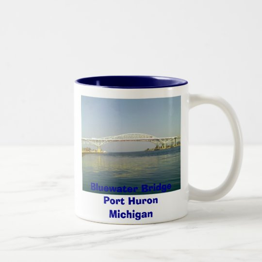 A Day At The Lake, Bluewater Bridge Port Huron ... Two-Tone Coffee Mug