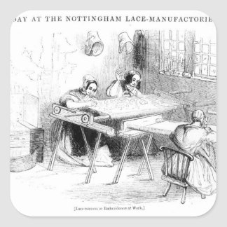 A Day at the Nottingham Lace Manufacturers Square Sticker