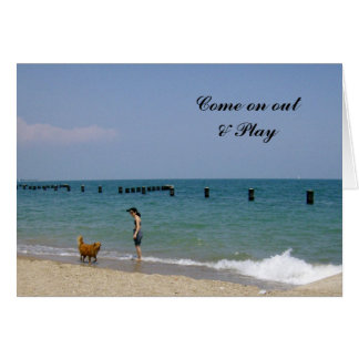 A day frolicking on the beach cards