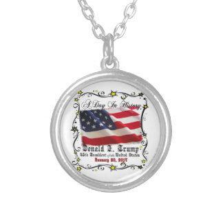 A Day In History Trump Pence Inauguration Silver Plated Necklace