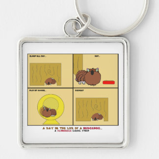 A Day in the Life of a Hedgehog Schnozzle Comic Silver-Colored Square Key Ring