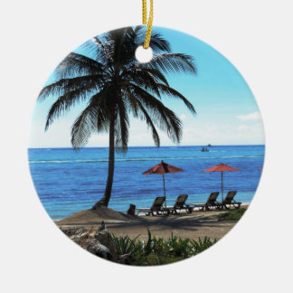 A day under the palm tree christmas ornament