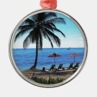 A day under the palm tree Silver-Colored round decoration