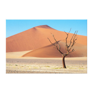 A dead tree on a desert plain with dunes canvas print