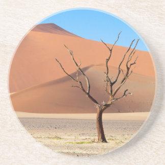 A dead tree on a desert plain with dunes coaster