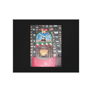 A Decorated Christmas Room Stretched Canvas Print