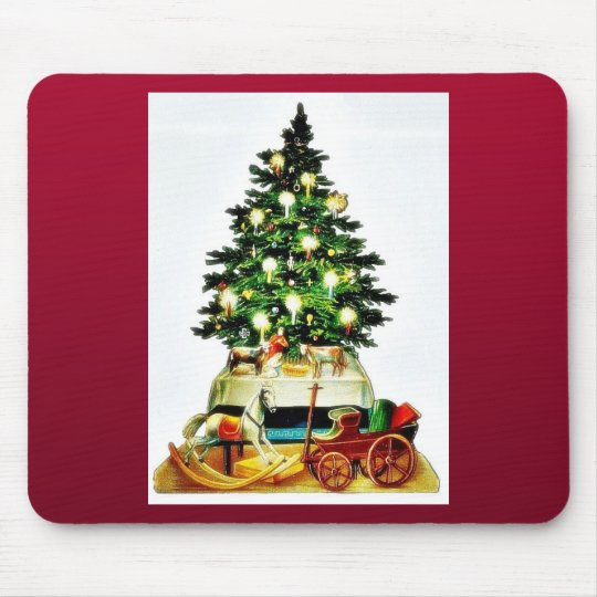 A decorated christmas tree mouse mat