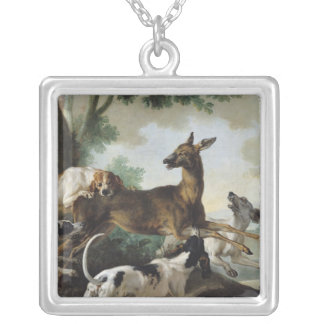 A Deer Chased by Dogs, 1725 Silver Plated Necklace