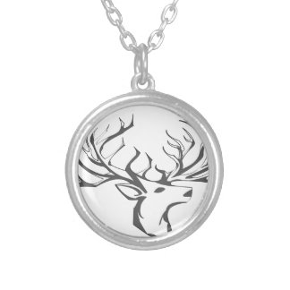A deer head silver plated necklace