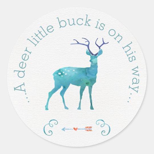 A Deer Little Buck Watercolor Baby Shower Classic