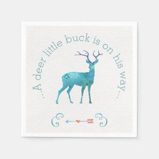 A Deer Little Buck Watercolor Baby Shower Paper Napkin