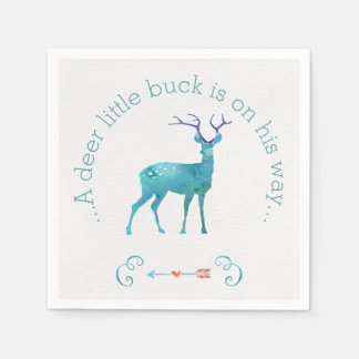 A Deer Little Buck Watercolor Baby Shower Paper Napkins