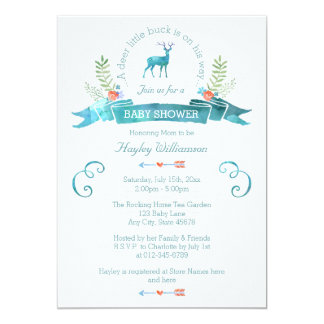 A Deer Little Buck Watercolor Banner Baby Shower Card