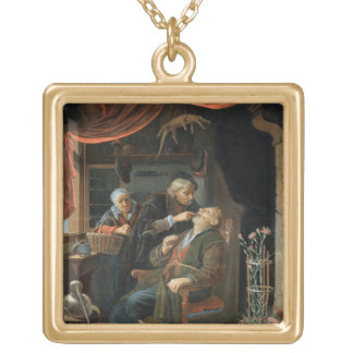 A Dentist Examining The Tooth of an Old Man (oil o Gold Plated Necklace