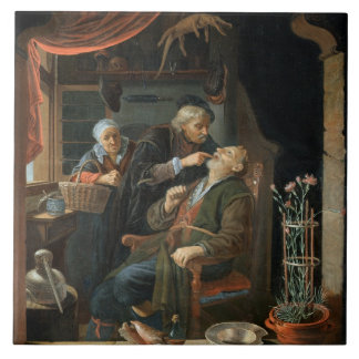 A Dentist Examining The Tooth of an Old Man (oil o Large Square Tile