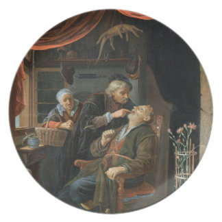 A Dentist Examining The Tooth of an Old Man (oil o Plate