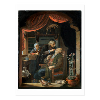 A Dentist Examining The Tooth of an Old Man (oil o Postcard