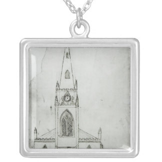 A Design for a Church, 1821 Silver Plated Necklace
