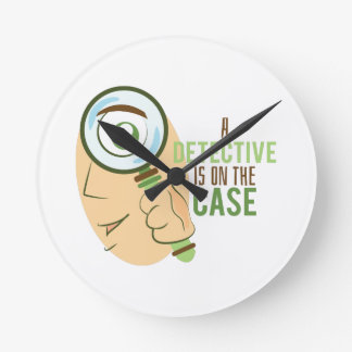 A Detective Is On The Case Round Wall Clocks
