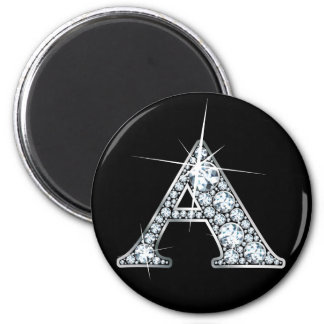 """A"" Diamond Bling Print Magnet"