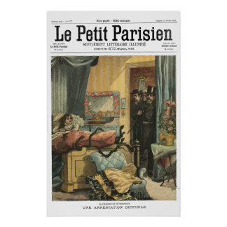 A difficult arrest - 1900 French newspaper print