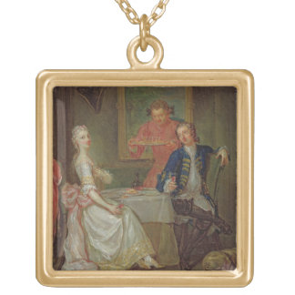 A Dinner Conversation (A Man and Woman Drinking at Gold Plated Necklace