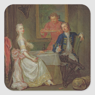 A Dinner Conversation (A Man and Woman Drinking at Square Sticker