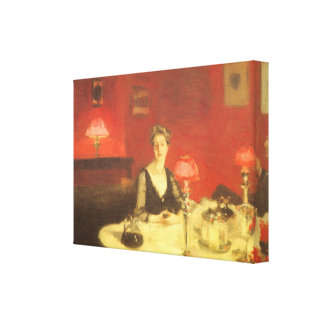 A Dinner Table at Night by Sargent Victorian Art Stretched Canvas Print
