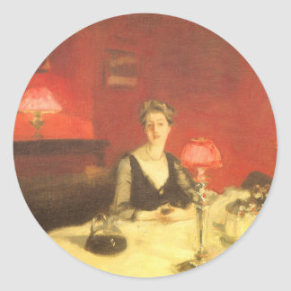 A Dinner Table at Night by Sargent, Victorian Art Round Sticker