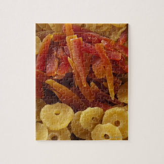 a display of preserved (candied) pineapple and jigsaw puzzle