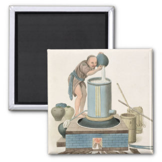 A Distiller, plate 24 from 'The Costume of China', Square Magnet