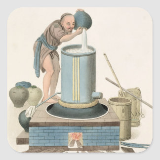 A Distiller, plate 24 from 'The Costume of China', Square Sticker