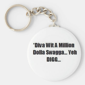 A DIVA WITH SWAGG....KEYCHAIN BASIC ROUND BUTTON KEY RING