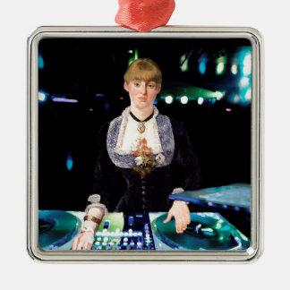 A DJ at the Folies-Bergère Silver-Colored Square Decoration